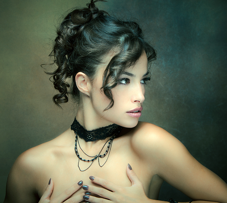 sensual brunette woman portrait studio shot
