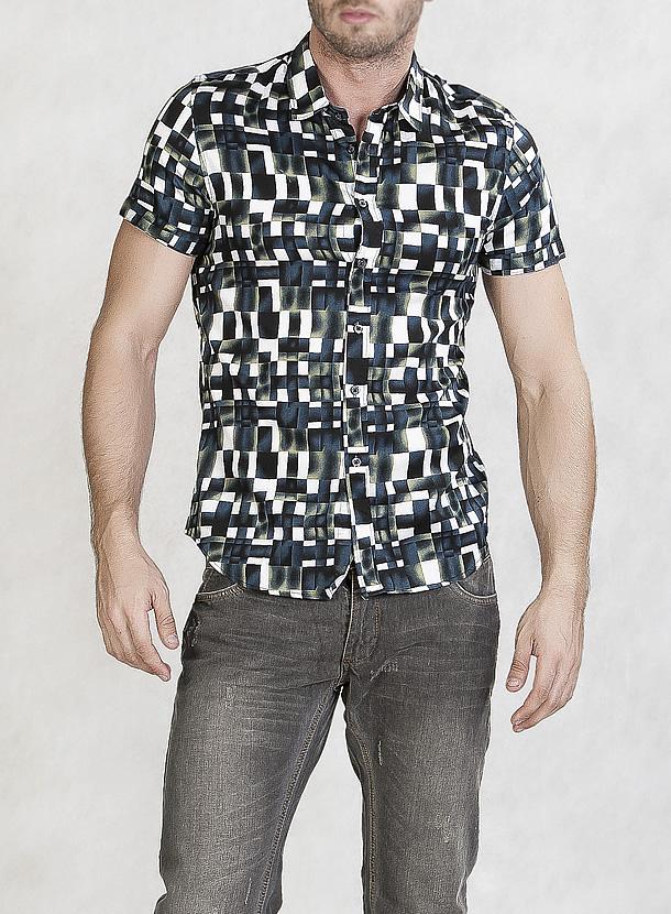 モザイクパターンシャツ